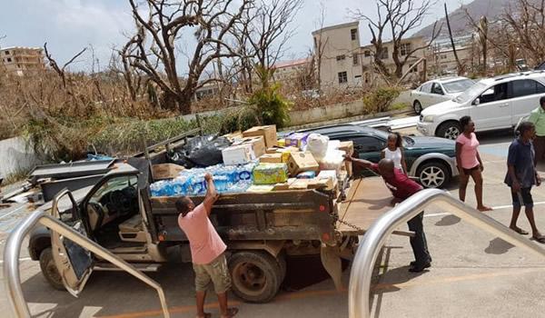 Preparing relief supplies in St.Croix